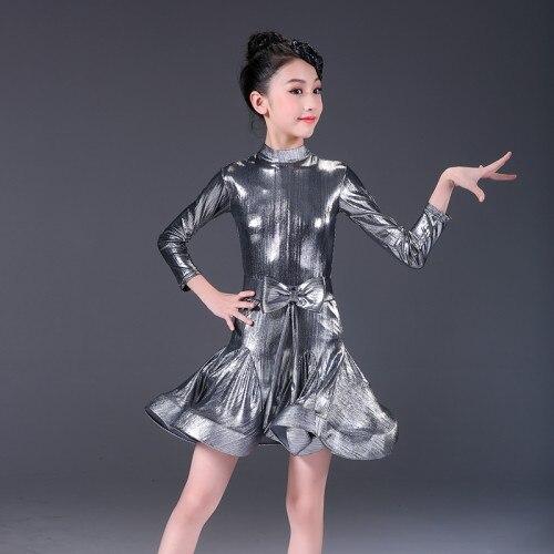 2019 Design filles brillantes enfants Junior compétition professionnelle salle de bal robes latines Club robes latines broderie moderne danse