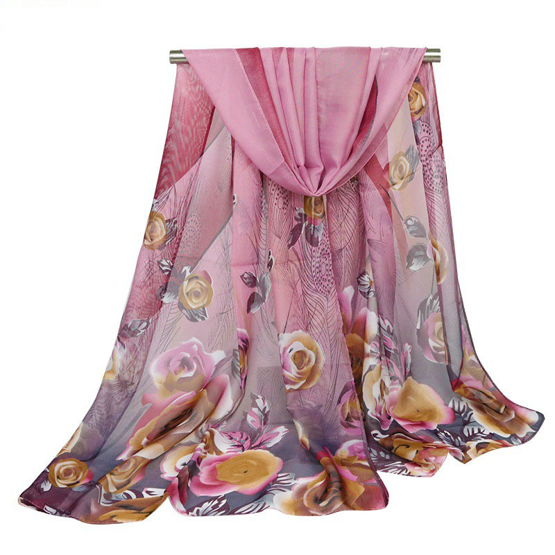 Summer Fashion New Lady Scarves Rose Flower Feather Chiffon Silk Scarf Sunscreen Shawl Beach Towel Printed Women's Scarf Wraps