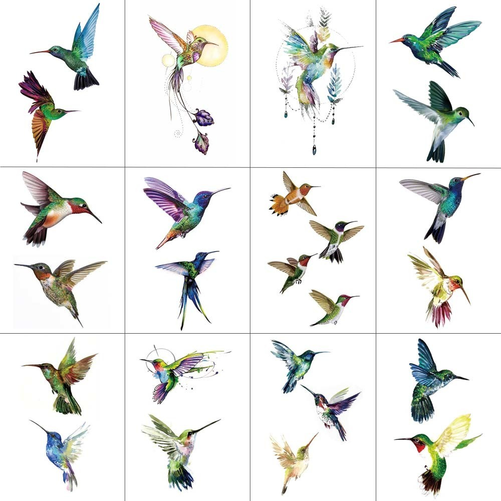 HXMAN 12 PCS Bird Hummingbird Temporary Tattoo Sticker For Women Men Body Art Adults Waterproof Hand Fake Tatoo 9.8X6cm W12-24