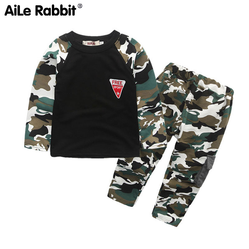 AiLe Rabbit Spring Boys Girls Clothes Set Fashion Camouflage Sports Leisure Set Children's Long-sleeved T-shirt + Pants 2 Pieces купить недорого в Москве