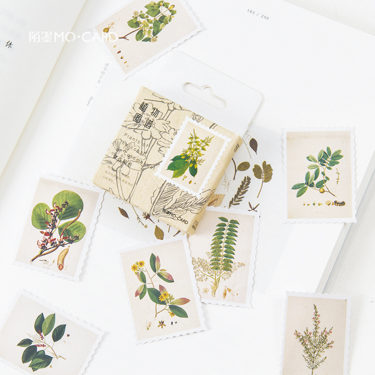 Gimue 45 Pcs/pack Herbal Plants Decorative Scrapbooking Stick Label Diary Stationery