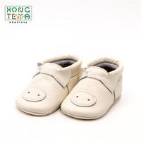 Fashion Genuine Leather Handmade Hard Bottom Moccasins Cartoon Pig Anti slip Prewalkers Boots Cute Newborn First Walker Shoes