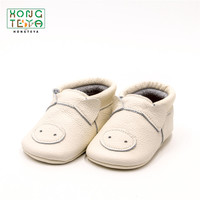 Fashion Genuine Leather Handmade Hard Bottom Moccasins Cartoon Pig Anti slip Prewalkers Boots Cute Newborn First Walker Shoes