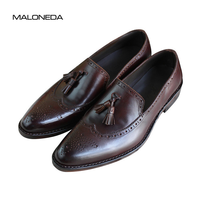 9099eb952da01 MALONEDA Custom Made Big Size Casual Men's Goodyear Loafers Shoes Genuine  Leather Tassels Slip on Brogue Shoes