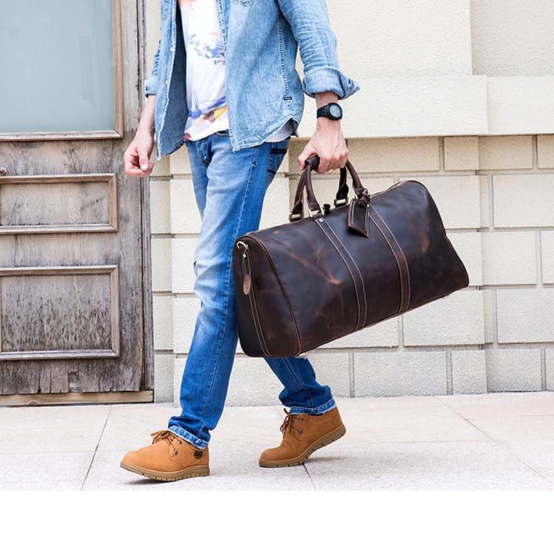 MAHEU Vintage Genuine Leather Travel bag for Men Crazy Horse Leather Travel Duffle Large Shoulder Bag