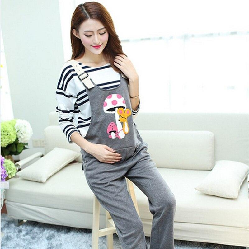 794a3b92ed66 Pants   Capris Maternity Clothing Pants Spring Autumn cartoon owl cotton  Overalls Pregnant Trousers Women Large Size Suspender