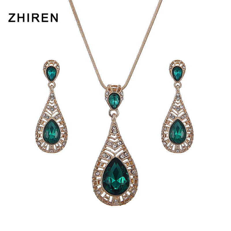 ZHIREN Jewelry-Set Pendant Women/necklace for Crystal Girl