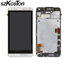AAA+++ LCD display For HTC One M7 LCD With Touch Screen Digitizer Full assembly +bezel Frame repair parts For HTC M7 Black Silve стоимость