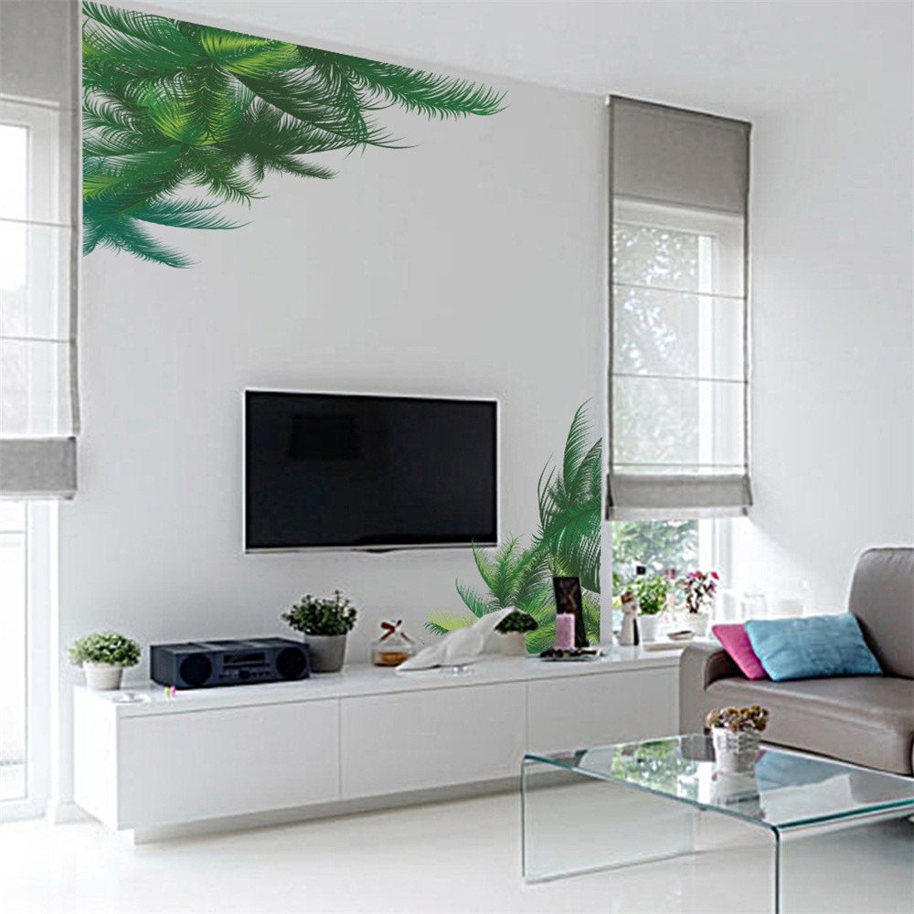 DIY Green Plant Wall Sticker Palm Tree Leaf Wall Decals Hawaii Tropical Mural Sticker Tv Background Home Living-Room muursticker
