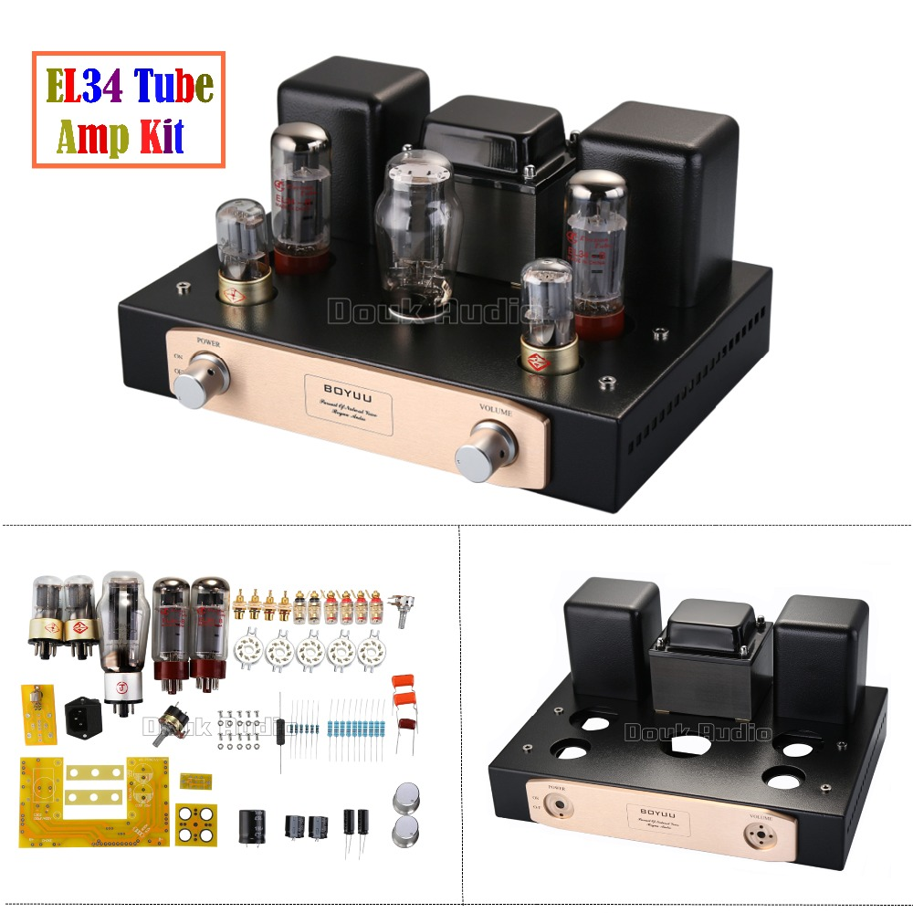 2018 Latest Upgrade EL34 Vacumm Tube Amplifier Single-ended Class A HiFi Stereo Power Amp Full DIY KIT 24W Beginner Level shengya a 221 high level class a pure combination of tubes and gallbladder full balanced amp hifi amplifier hybrid amplifier