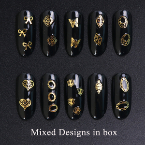 Image 2 - 3D Gold Metallic Slice Sequin Paillette Mixed Design Flower Butterfly Charms Nail Art Decoration DIY Hollow Manicure Studs CH967