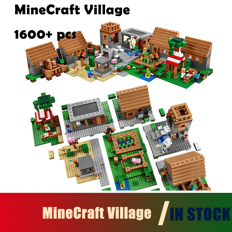 Compatible with lego 1600+pcs Model building kits my worlds MineCraft Village blocks Educational toys hobbies for children model building kits compatible with lego the sky dragon my worlds minecraft 548 pcs model building toys hobbies for children