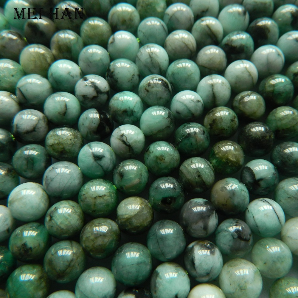 Free shipping approx 48beads set 26g natural 7 7 5mm Emerald smooth round beads for jewerly