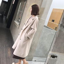 Kpop Harajuku New 2018 Double-sided Woolen Coats Women Long Loose Pockets Outerwear Female Casual Double Breasted