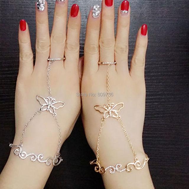62f4ea315749 Cristal mariposa esclavo cadena enlace pulsera dedo mano arnés oro plata  chic charm joyería para el