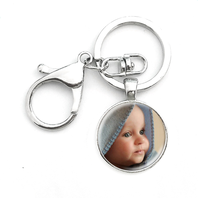 SUTEYI Personalized Photo Key Chain Ring Custom Photo of Your Baby Child Mom Dad