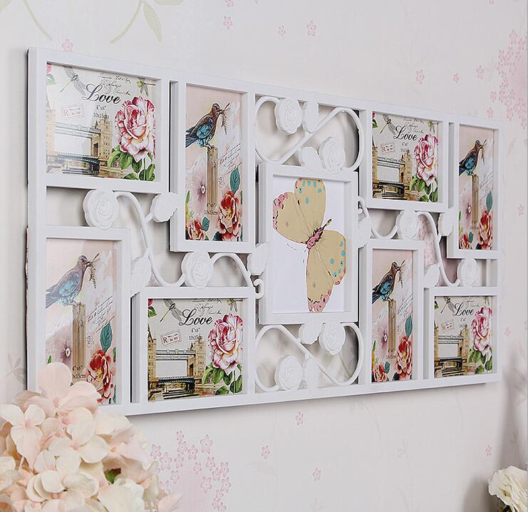 White rose collage photo organization 9 picture frame wall for Picture frame organization wall