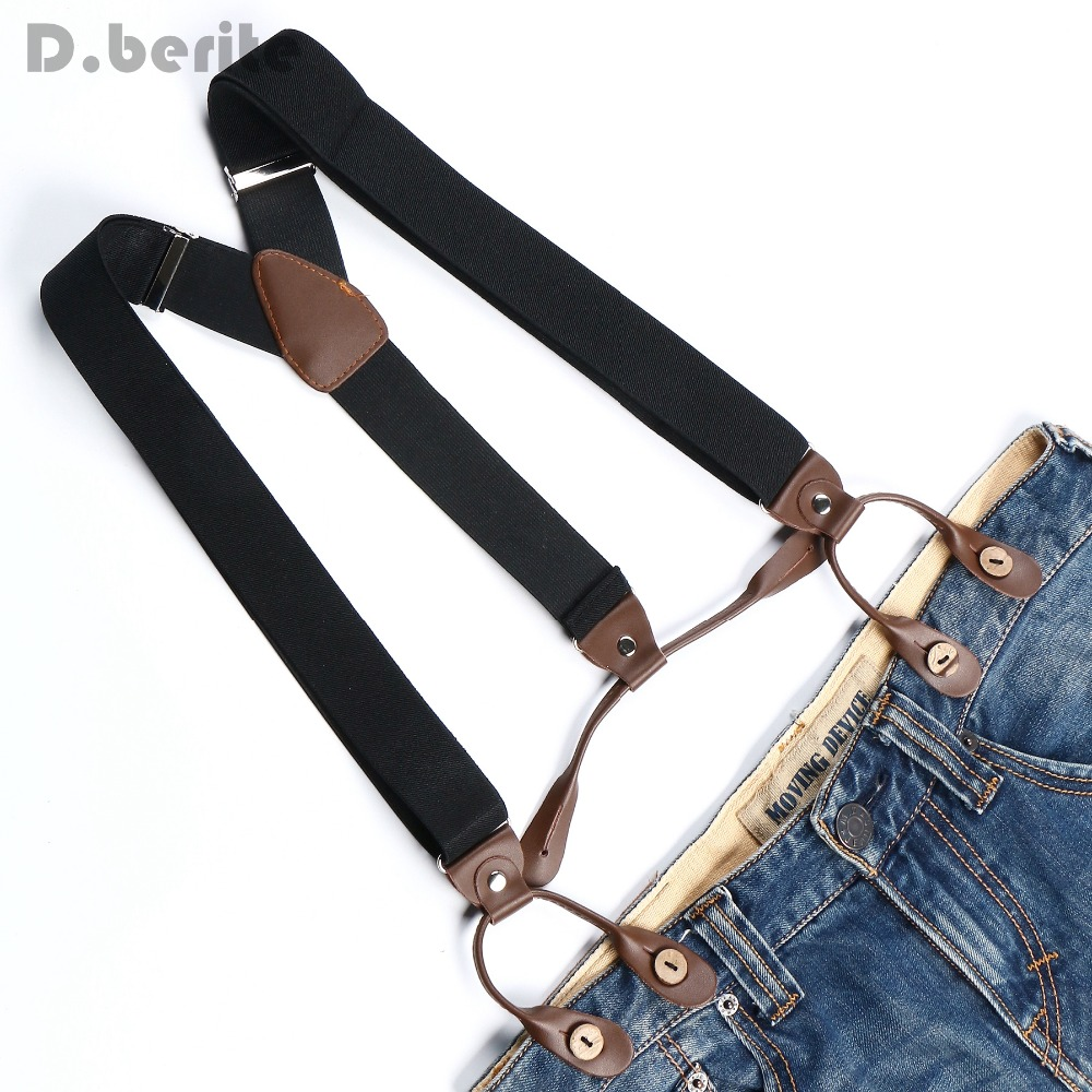 Braces Unisex Suspender Adjustable PU Leather Button Adult Braces Plain Solid Black Belt BD705