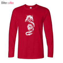 2018 NEW winter autumn t-shirt  Chinese Dragon Tribal  t shirts men print long sleeve tops tshirt homme Tops & Tees