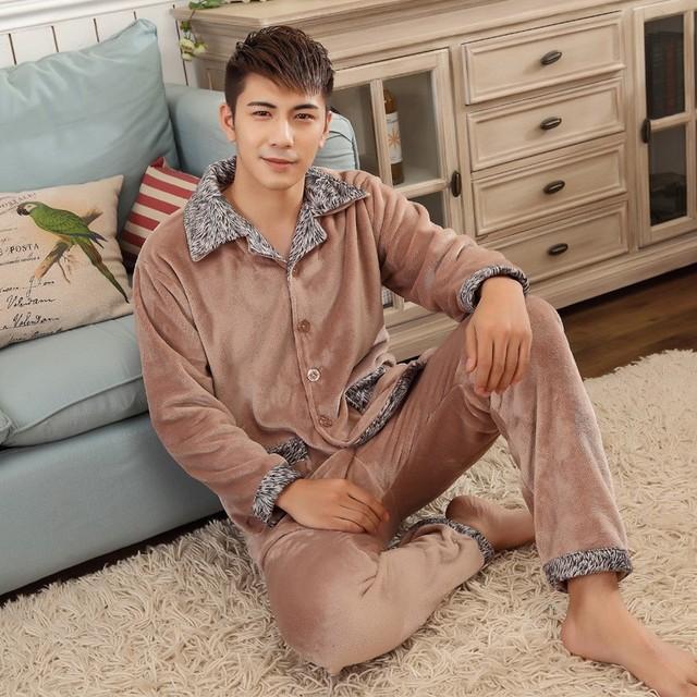 Pijama hombre engrosamiento de Invierno de algodón acolchado de los hombres conjuntos de pijamas ropa de noche masculina conjunto dormir de franela coral polar salón