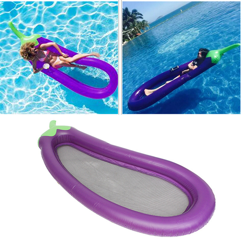 250CM Inflatable Giant Eggplant Pool Float Water Mattress Mat Water Party Toys Sunbathe Bed Swimming Ring Circle Beach Mat