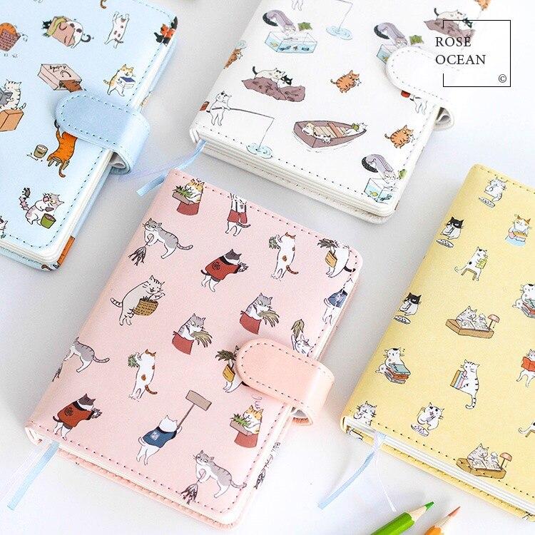 1 Stks Lederen Hardcover Notebook Leuke Cartoon Kat Mini Handboek - Notitieblokken en schrijfblokken bedrukken