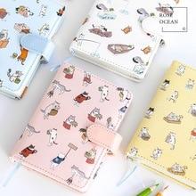 1шт шкіряний жорсткий ноутбук симпатичний мультфільм кішки Mini Handbook Snap Тип затискача Ретро поглинання ноутбука 035