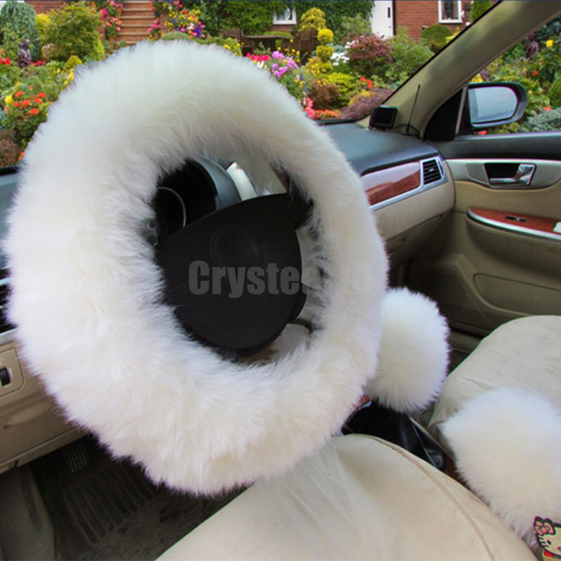 3pcs/set Universal 38cm White Furry Woolen Steering Wheel Cover with Handbrake/Gear Shift Knob Sleeve Cover runba ice silk steering wheel cover sets with red thread