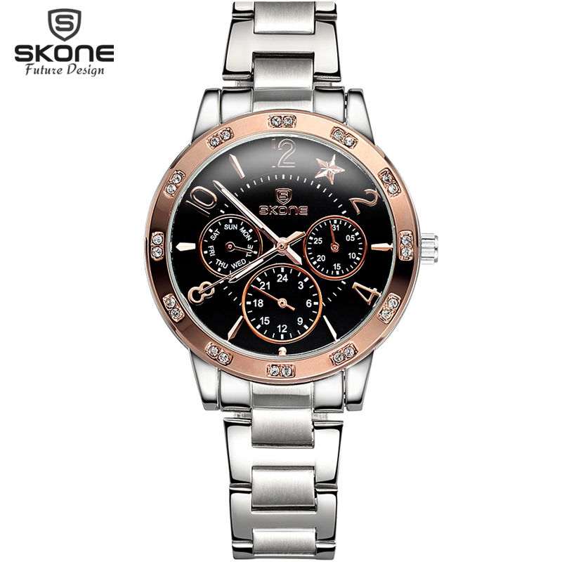 Skone Top Brand Luxury Watches New Fashion Full Steel Function Quartz Wrist Watches For Women Rhinestone relogio feminino 2017 skone relogio 9385