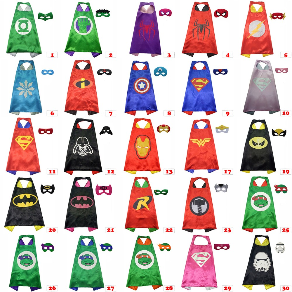 Superhero cape(1 Cape +1 mask) Superman batman spiderman superhero costume kids Halloween party costumes ninja ninjago superhero spiderman batman capes mask character for kids birthday party clothing halloween cosplay costumes 2 10y