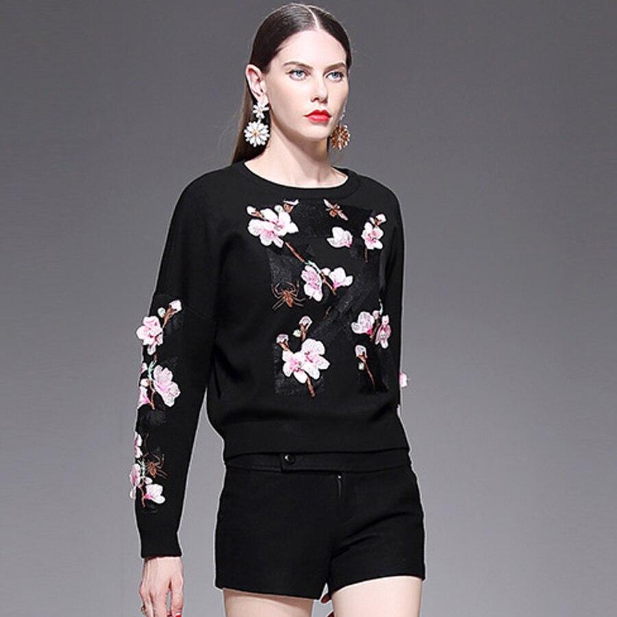 Aeleseen Designs Fleur Patch Noir Hiver Automne Broderie Chandail Femmes Tricoté Mince Qualité Vintage 2019 Haute rvxwzqT1Pr