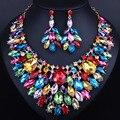 Роскошный цвет большой кристалл серьги ожерелья устанавливает Леди свадьба Ювелирные наборы