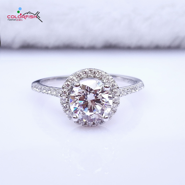 Colorfish Clic 1 28 Ct Halo Engagement Wedding Ring G Set Brilliant Round 925 Solid Sterling Silver