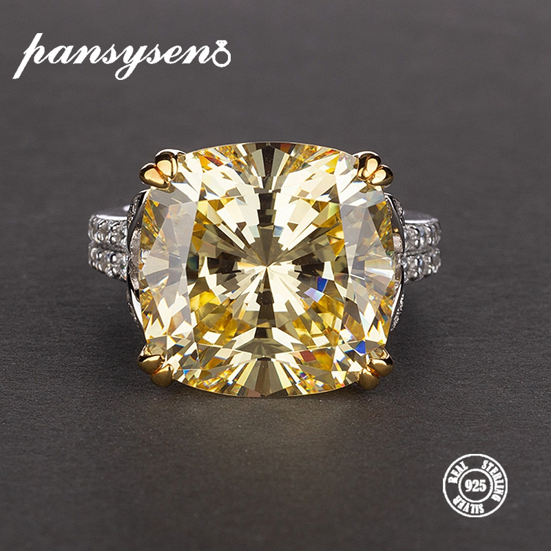 PANSYSEN Charms 14*14mm Natural Citrine Rings For Women 100% Genuine 925 Sterling Silver Jewelry Engagement Anniversary Ring