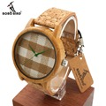 Bobo bird a28 mens relógios top marca de luxo relógios de madeira com Faixas de Couro Real na Caixa de Presente relogio masculino relojes mujer