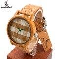 Bobo bird a28 mens relojes de primeras marcas de lujo relojes de madera con Bandas de Cuero Real en Caja de Regalo relogio masculino relojes mujer