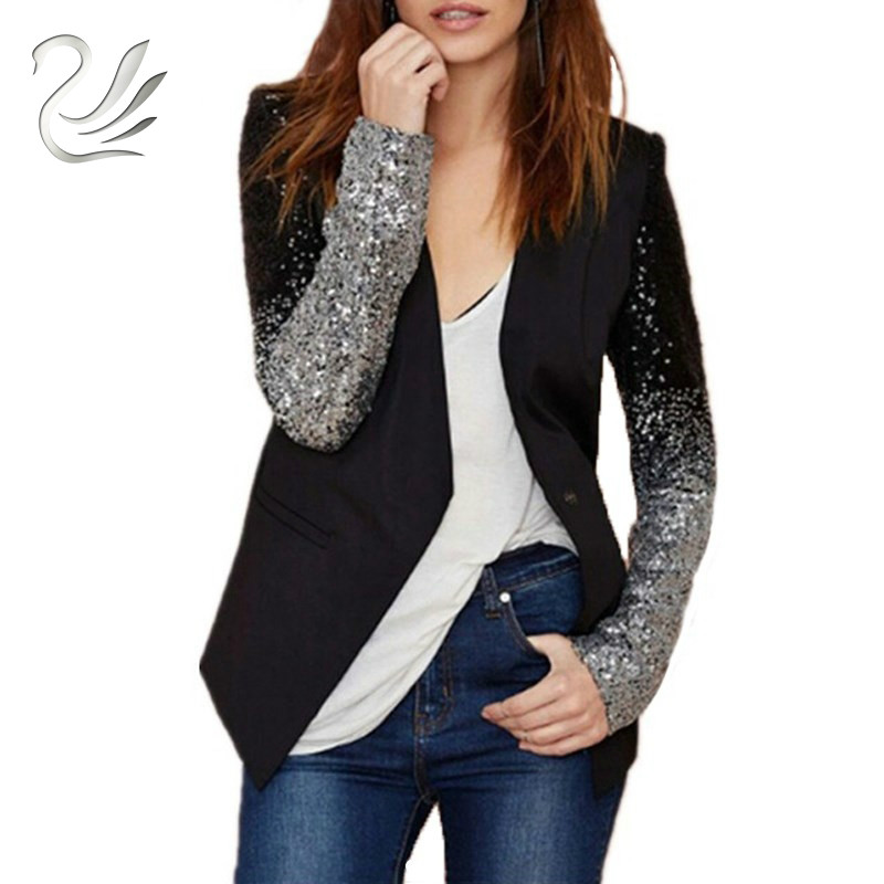 Women Coat 2017 Fashion Formal Blazers Suit Spring Long Sleeve Lapel Gradient Patchwork Black Silver Bling Sequined Lady Clothe