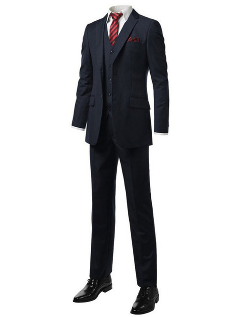 Custom Made Navy Blue Groom Suit Bespoke Tailor Wedding For Men Wedding Tuxedos Suits
