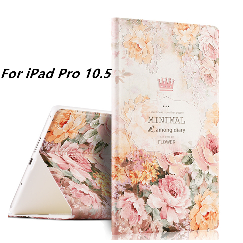 3D Releif Painting Floral Case for New iPad Pro 10.5 2017 Release Magnetic Flip Leather Cover for iPad Pro 10.5 inch Coque Funda leather case flip cover for letv leeco le 2 le 2 pro black