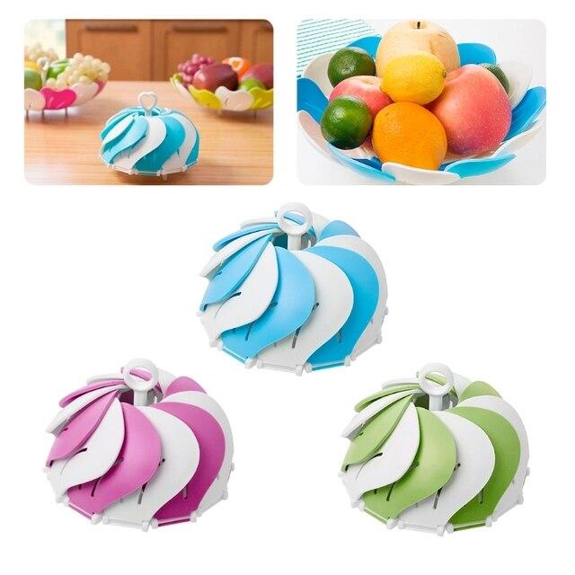 Elegant Fruit Drain Basket Vegetable Plate Bowls Dish Storage Organizer Kitchen Storage Organization Racks Holders pp plastic