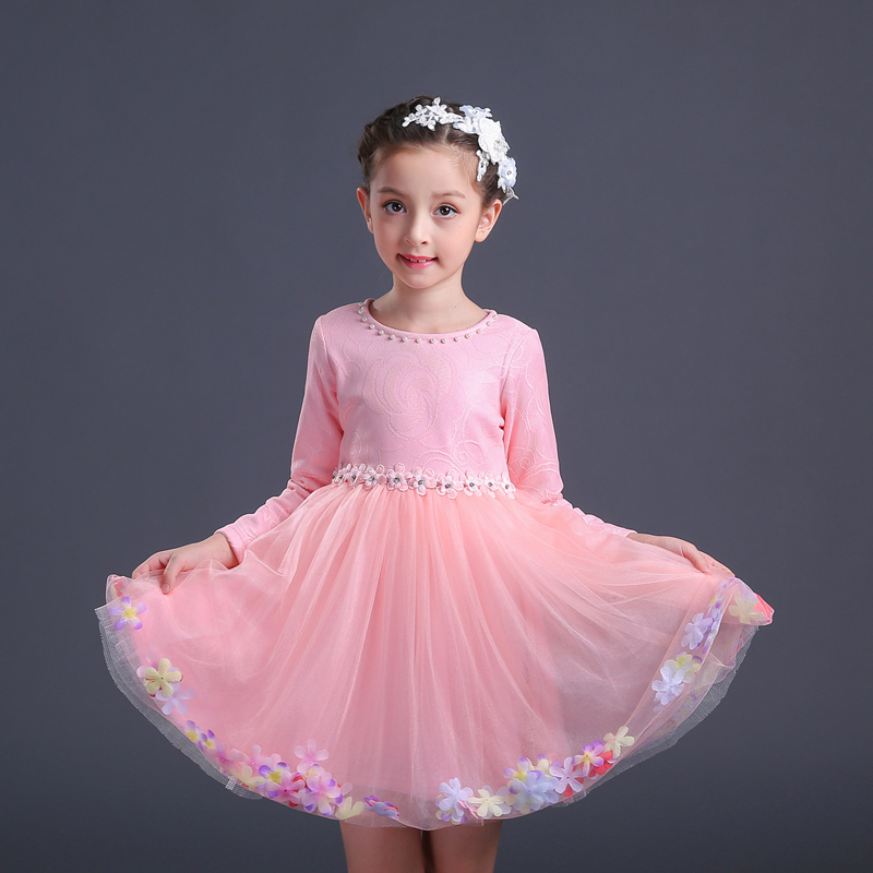 girl party dress princess dress girl 3-12 years 2018 autumn pink white baby wedding dresses lace fashion vestidos long sleeve