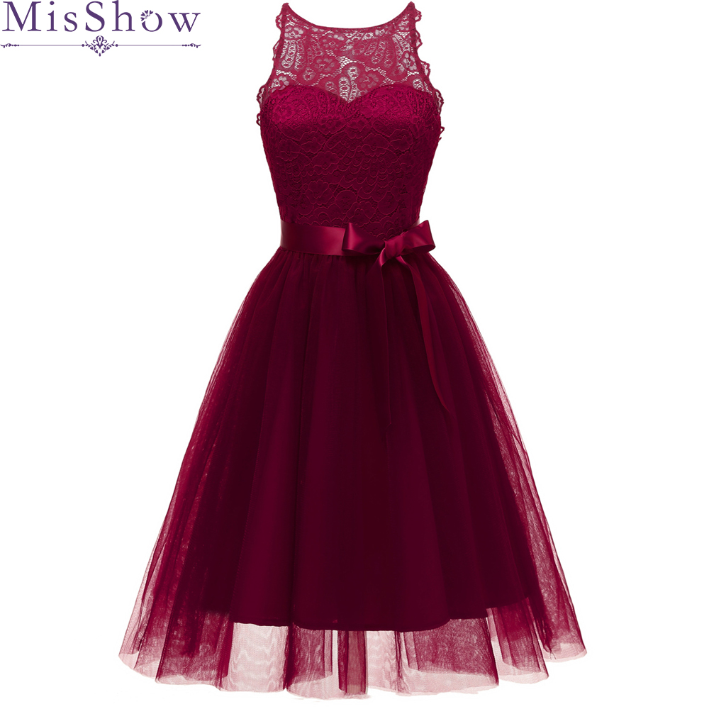Burgundy Bow Lace A-Line Cocktail Dresses 2019 Elegant Lllusion Summer Women Vestidos O-Neck Sexy Women Cocktail Dresses