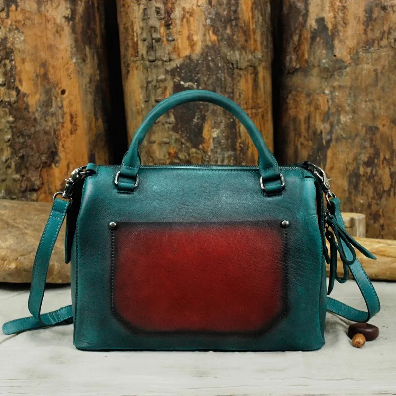 Unique Three-way Panelled Color Designer Genuine Leather Women's Single Shoulder Bag Cowskin Ladies Female Boston Bag Handbag