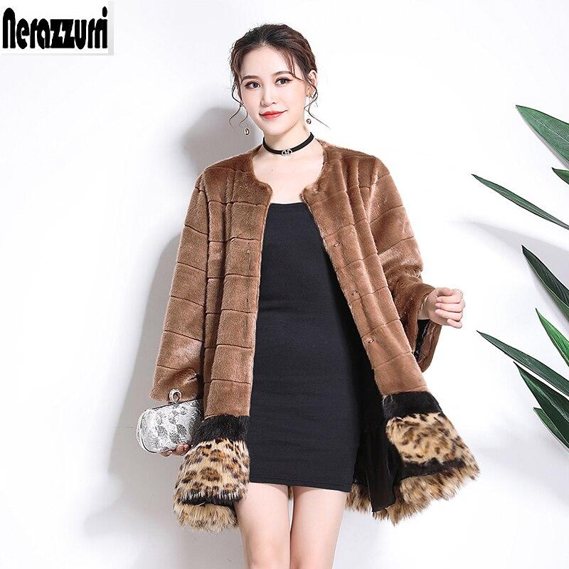 Nerazzurri Fishtail Faux Fur Coat Woman Leopard Print Hem Large Size Outwear 4xl 5xl 6xl 7xl Warm Furry Stylish Fake Fur Jacket