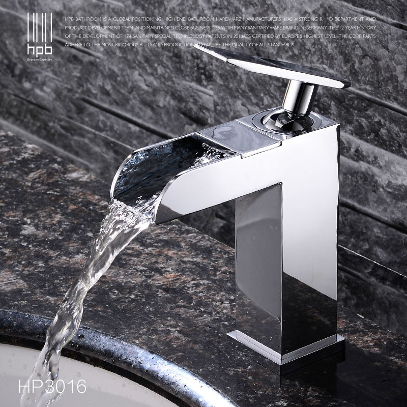 HPB Comteporary Style Waterfall Single Handle Basin Sink Bathroom Hot and Cold Faucet Mixer Tap Torneira Banheiro HP3016HPB Comteporary Style Waterfall Single Handle Basin Sink Bathroom Hot and Cold Faucet Mixer Tap Torneira Banheiro HP3016