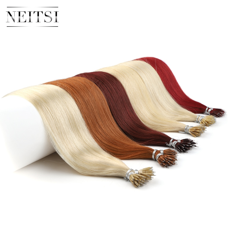 """Neitsi Straight Micro Beads None Remy Nano Ring Links Human Hair Extensions 16"""" 20"""" 24"""" 1.0g/s 50g 100g Blonde Black 20 Colors"""