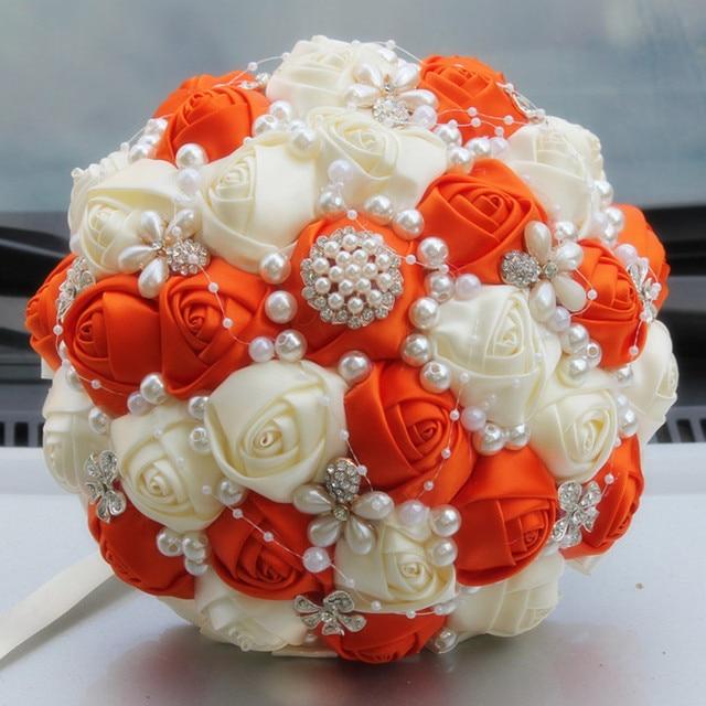 Aliexpress Com Elfenbein Orange Kunstliche Hochzeit Bouquets