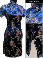 Hottest Navy Blue Chinese Women's Satin Cheongsam Mini Qipao Vintage Totem Dress Oversized S M L XL XXL XXXL 4XL 5XL 6XL L02-F