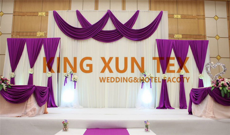 White And Purple Color Ice Silk Wedding Backdrop Curtain Stage Background Valance Drapery Party Event Decoration