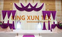 白と紫の色アイスシルクウェディングバックドロップカーテンのステージ背景バランスカーテンパーティーイベントの装飾